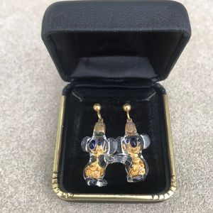 Vintage Glass Gold Filled Koala Earrings